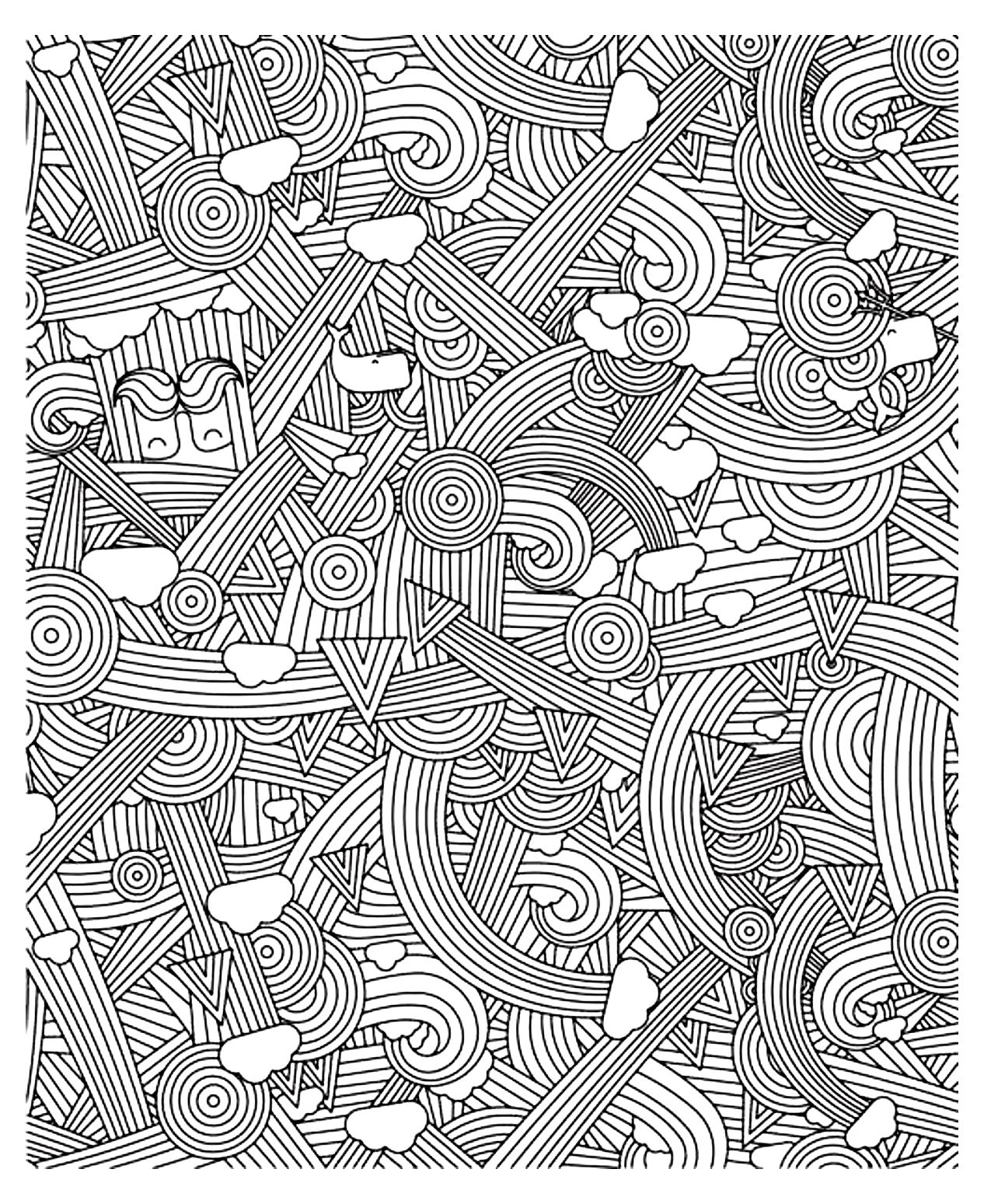 Anti stress colouring pages for adults - Coloring Adult Zen Anti Stress To Print Rainbows Free