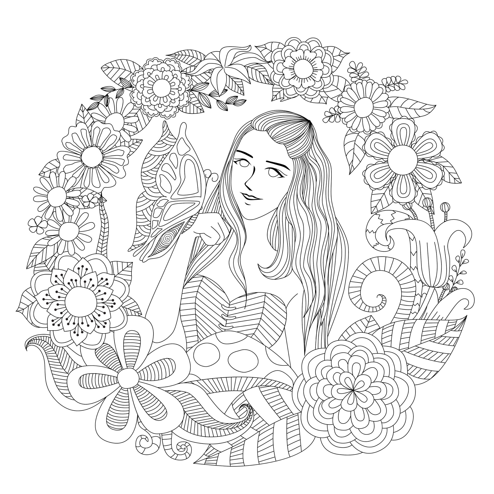 Anti stress colouring pages for adults - Butterfly Girl A Fantastic Flowered Adult Coloring Page From The Gallery Zen
