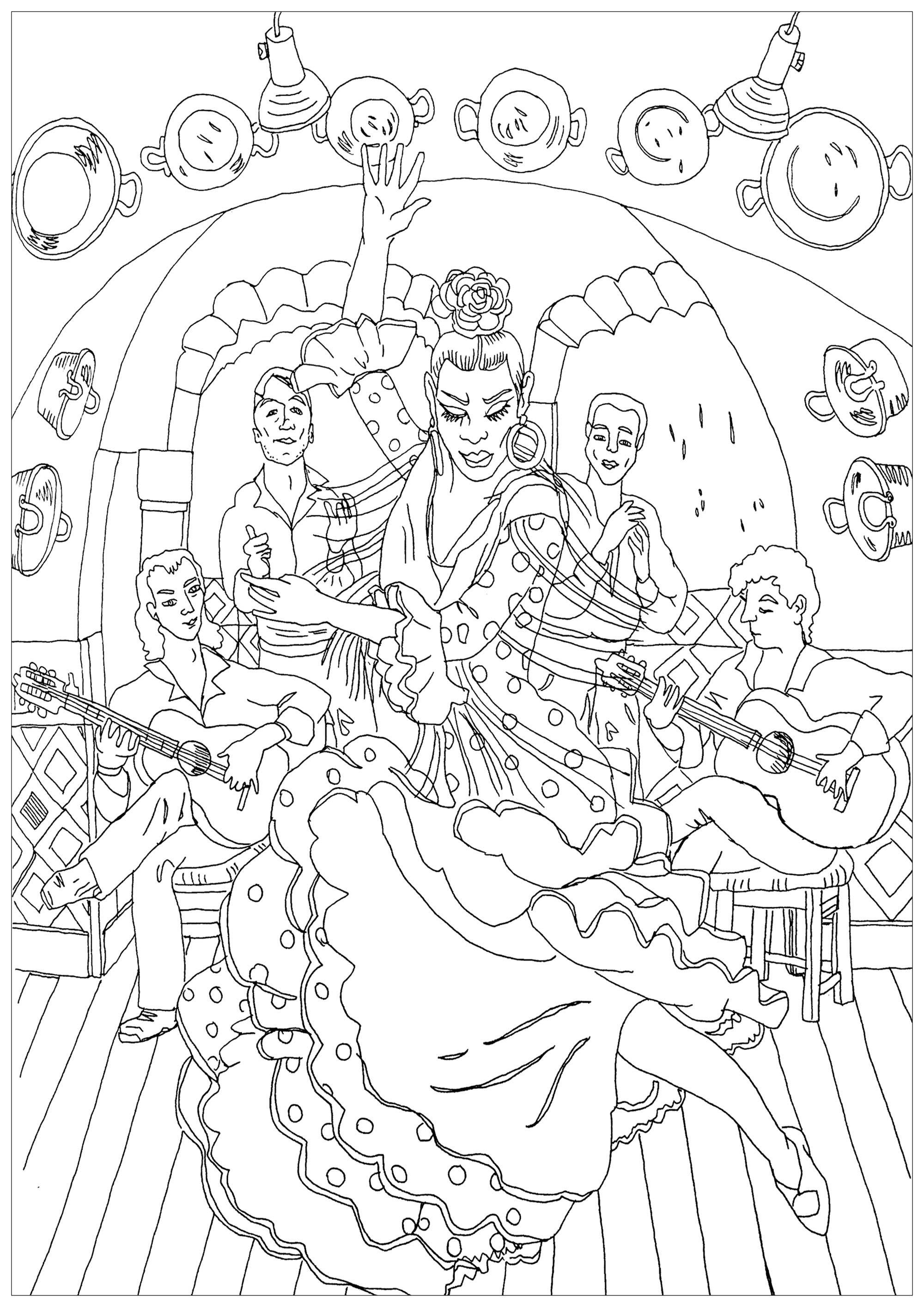 Flamenco, whose roots are Andalusian, is a passionate dance that involves a lot of improvisation.  Color this beautiful coloring page with music !