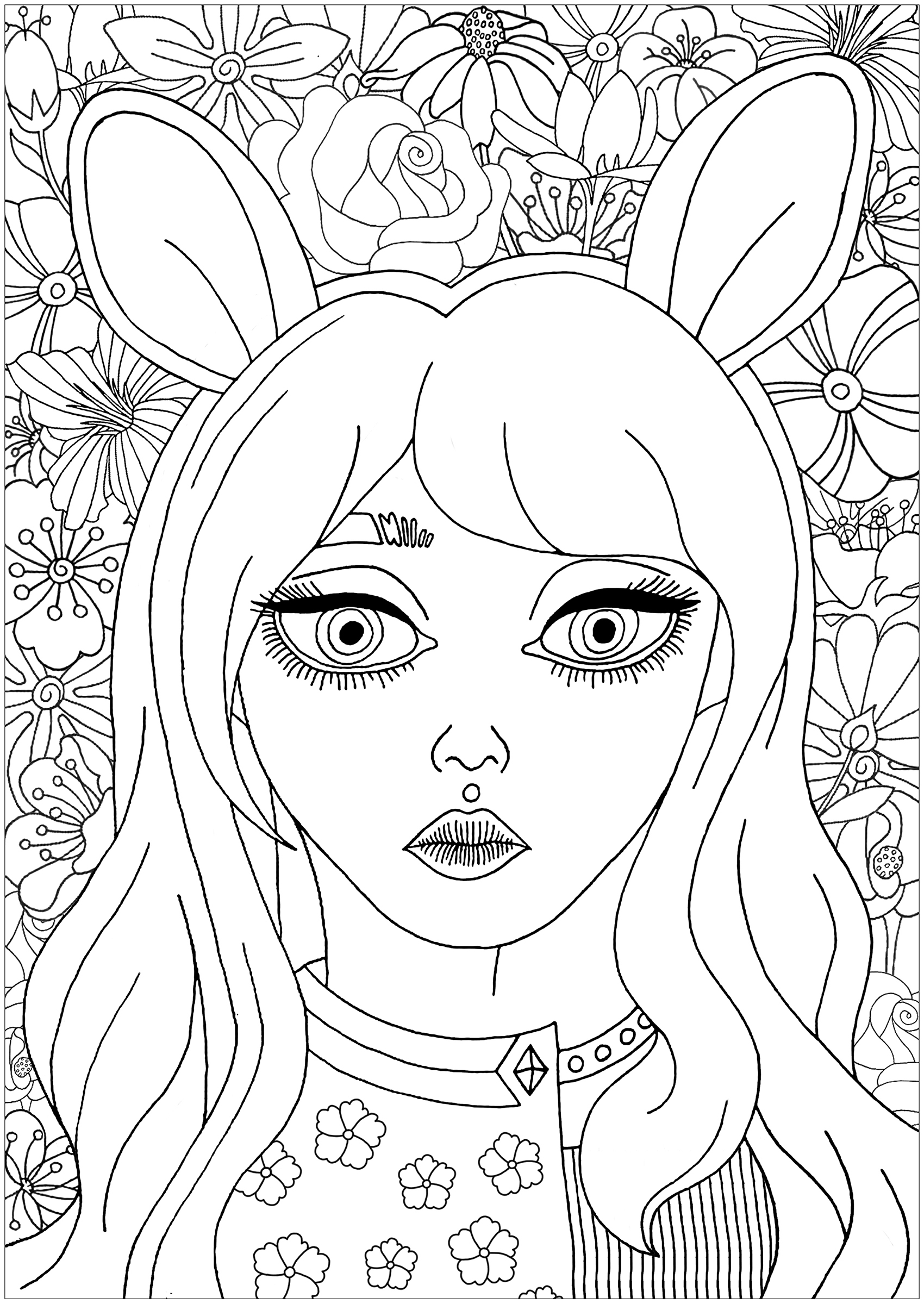 Cute portrait of a girl with bunny ears, with beautiful flowers for coloring in the background