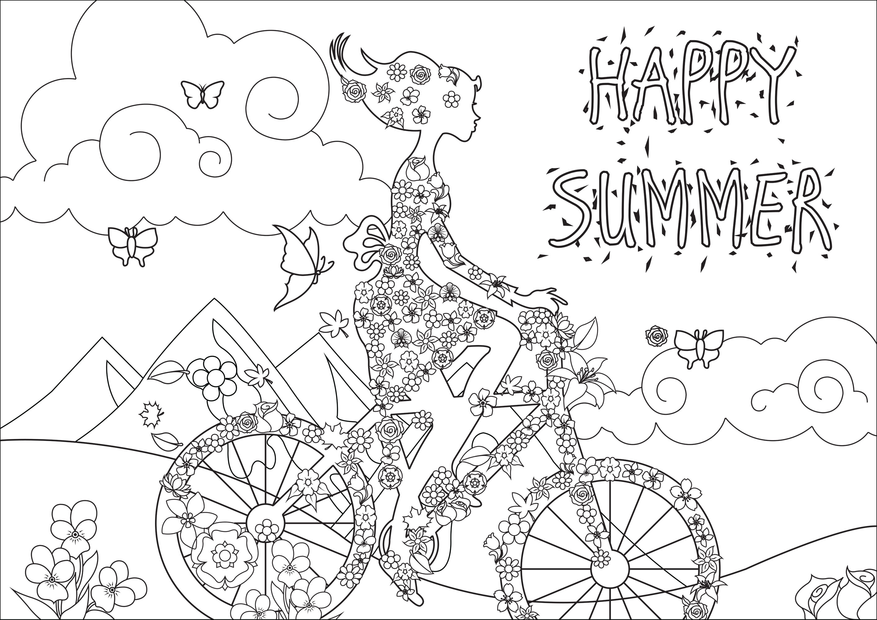 Happy Summer - Anti stress Adult Coloring Pages