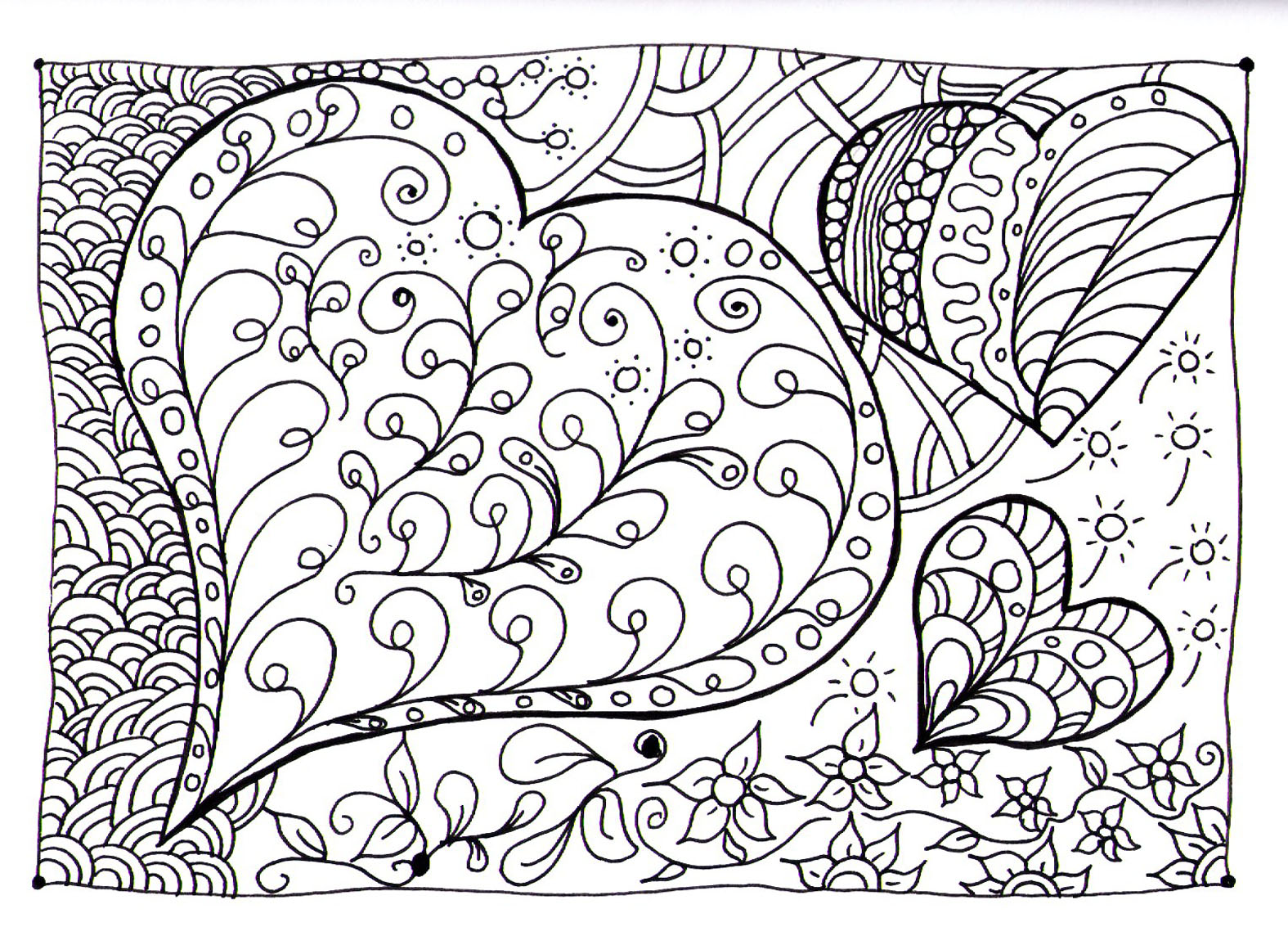 heart zen zen and anti stress coloring pages for adults
