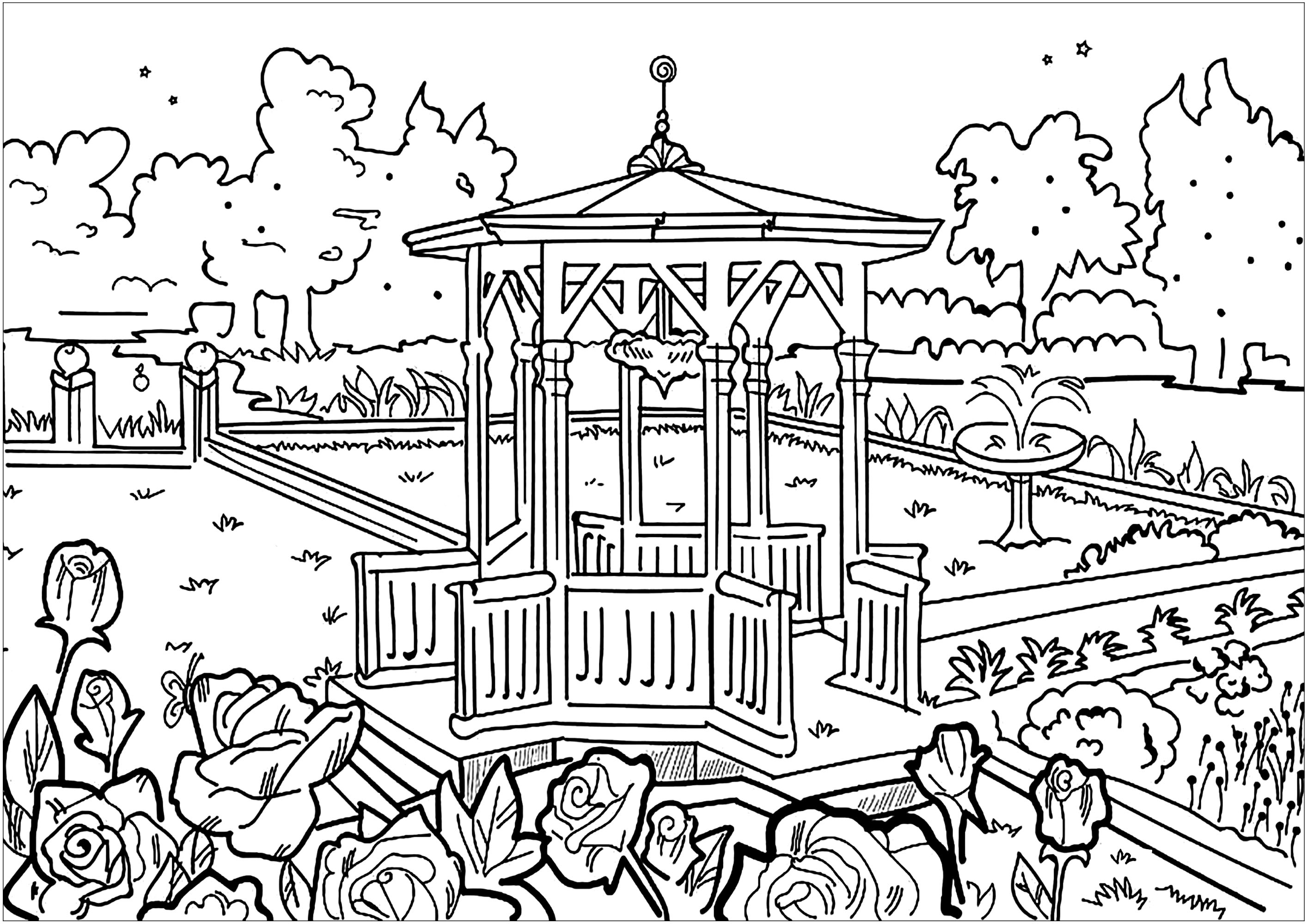 Escape to this pretty public garden and its gazebo from another time