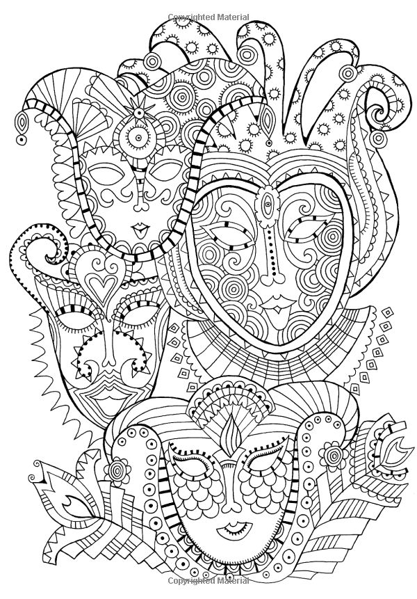 Coloring Page Mask Carnival