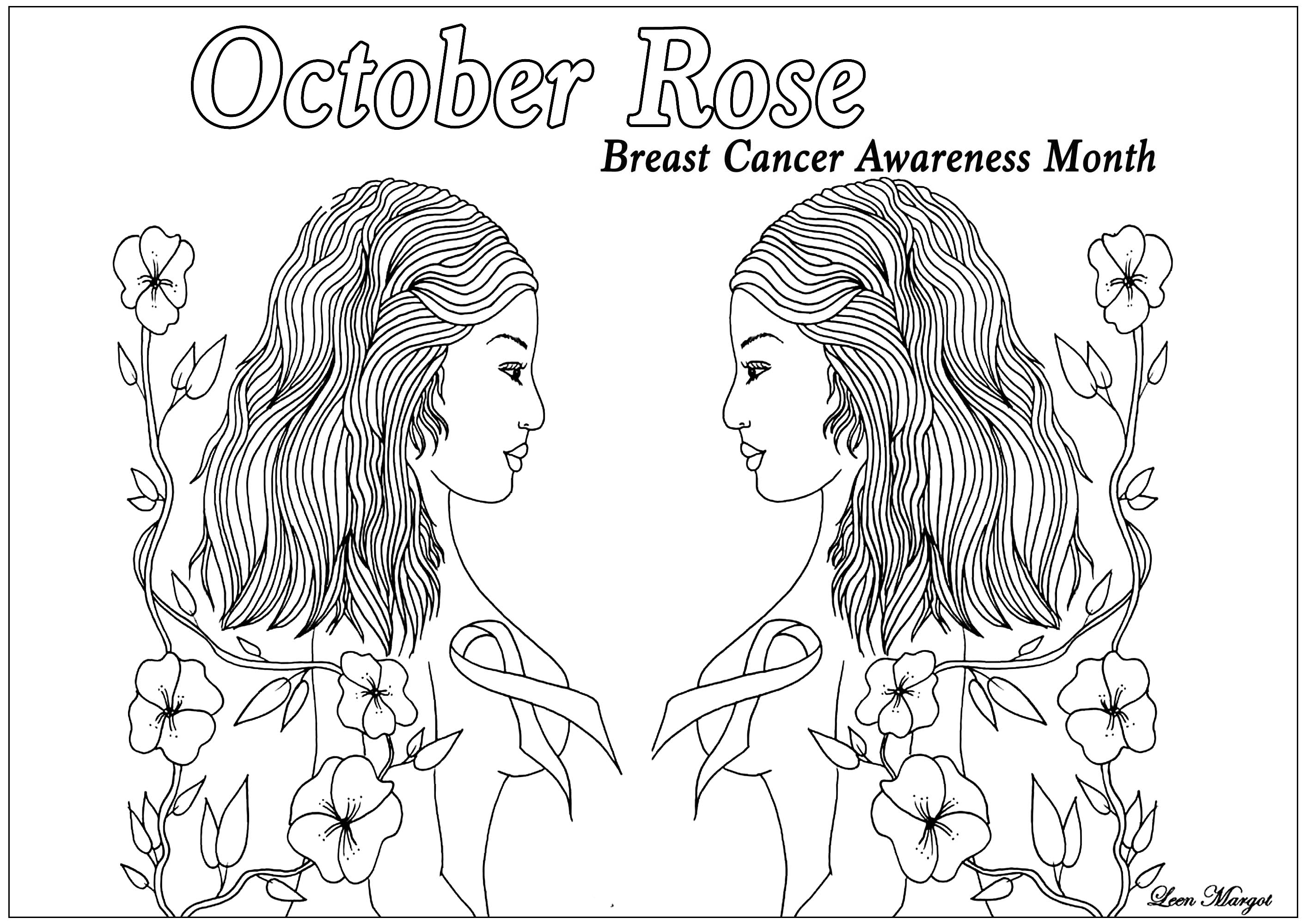 - October Rose 2 - Anti Stress Adult Coloring Pages
