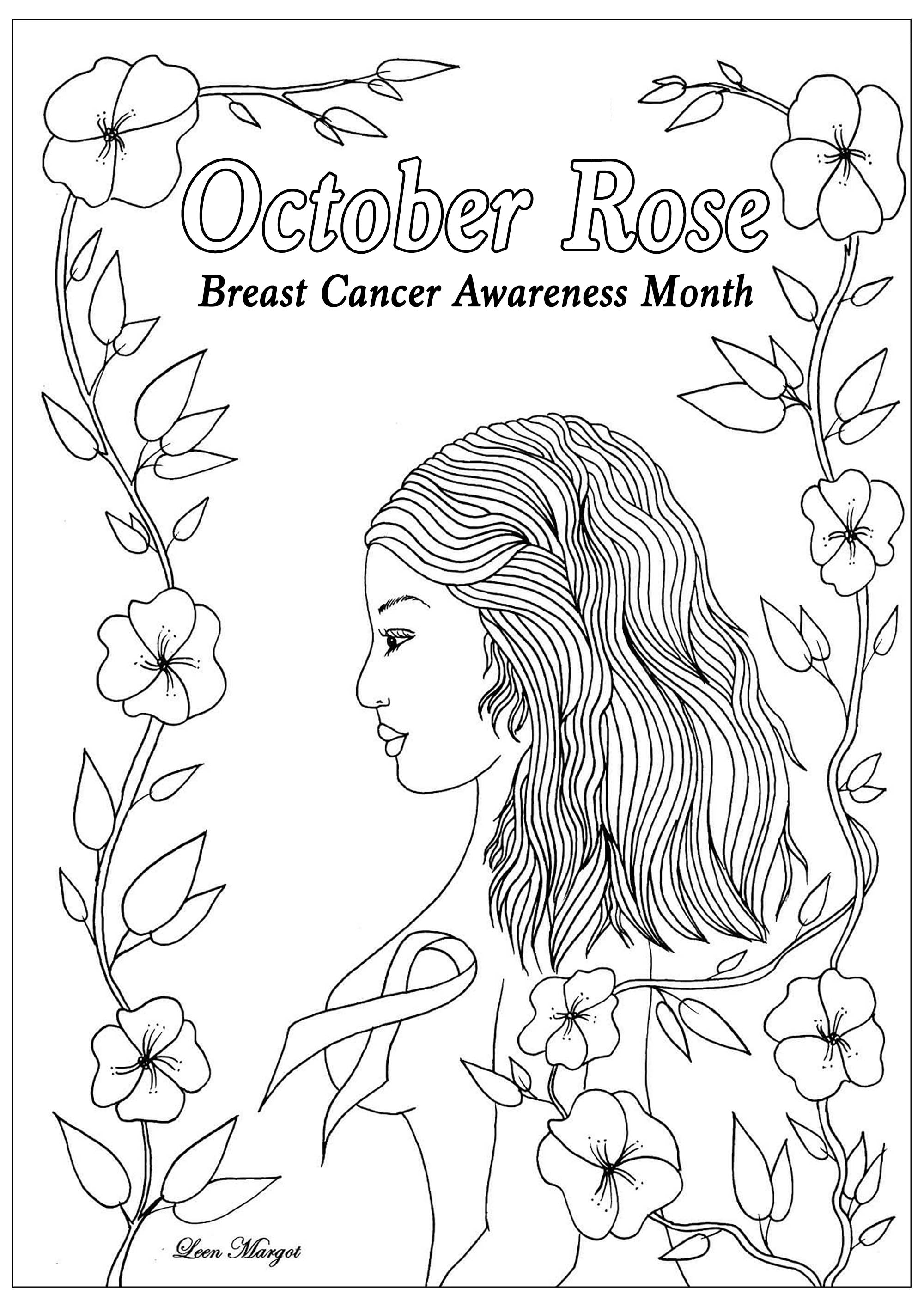 Exclusive coloring page created for October rose : Breast Cancer Awareness Month (Version 1)