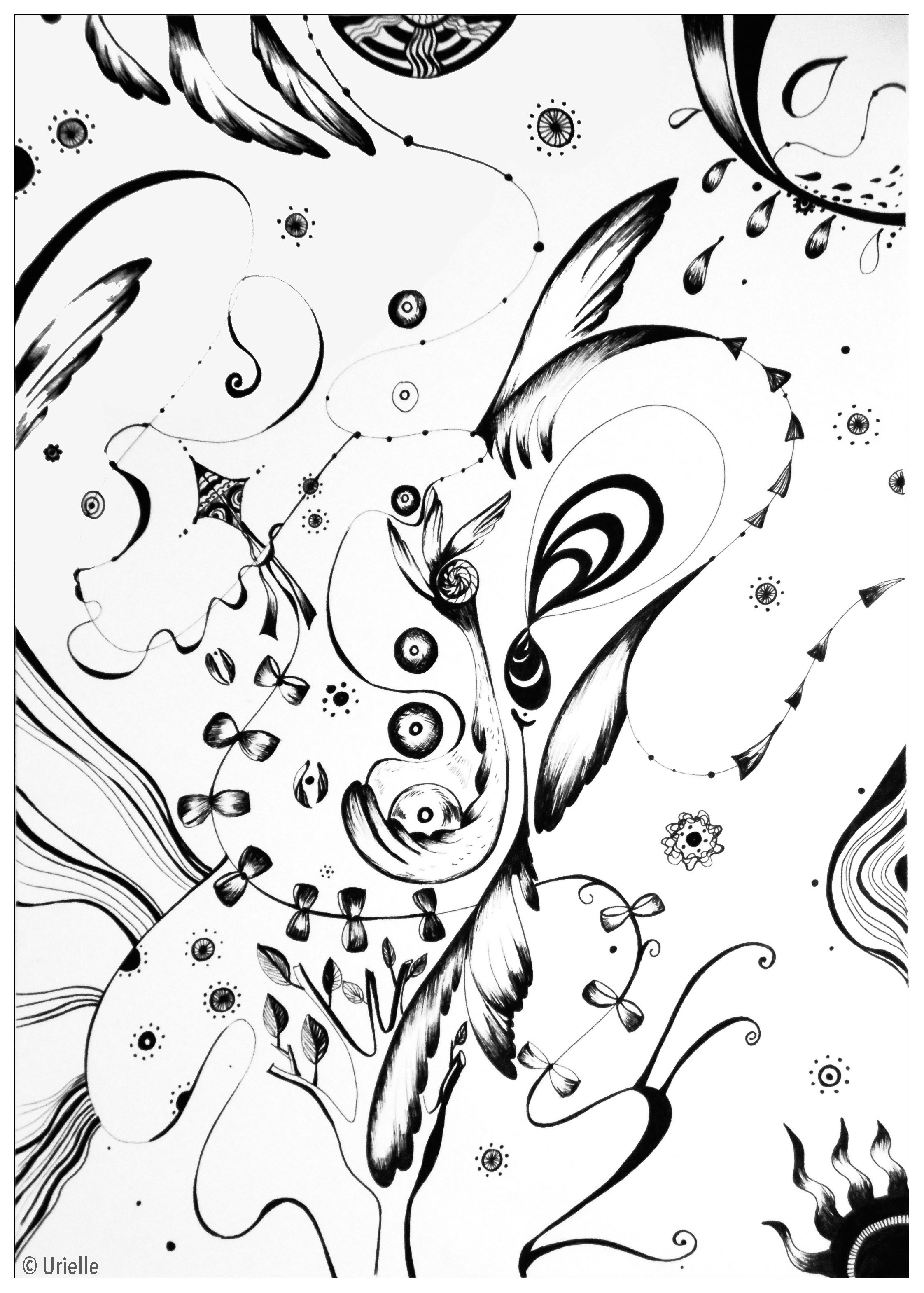 'Angels' : Abstract coloring page, do you see the angel wings ?