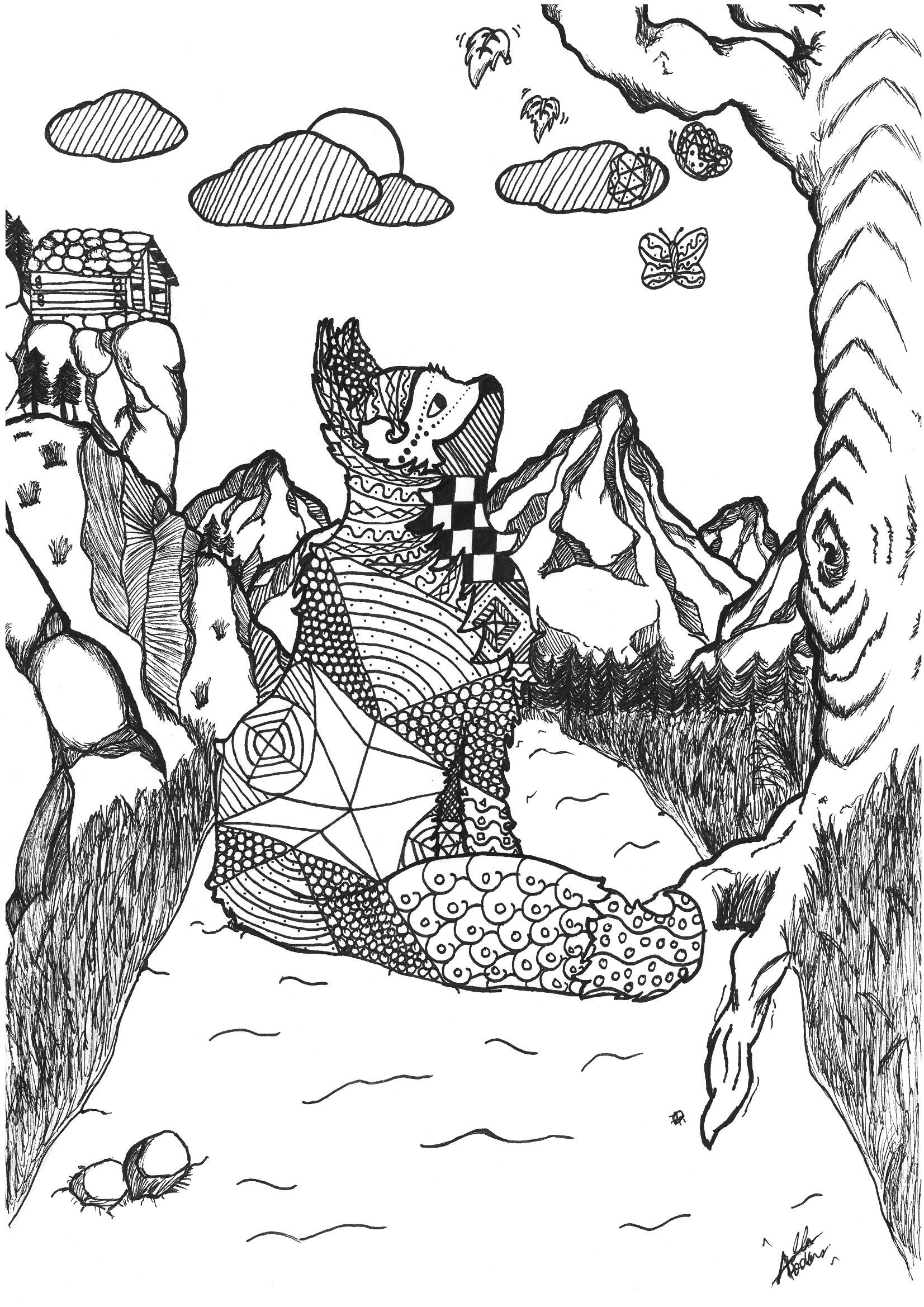 Coloring Pages Nature. Landscape, forest, mountains, sea, island | 2338x1653