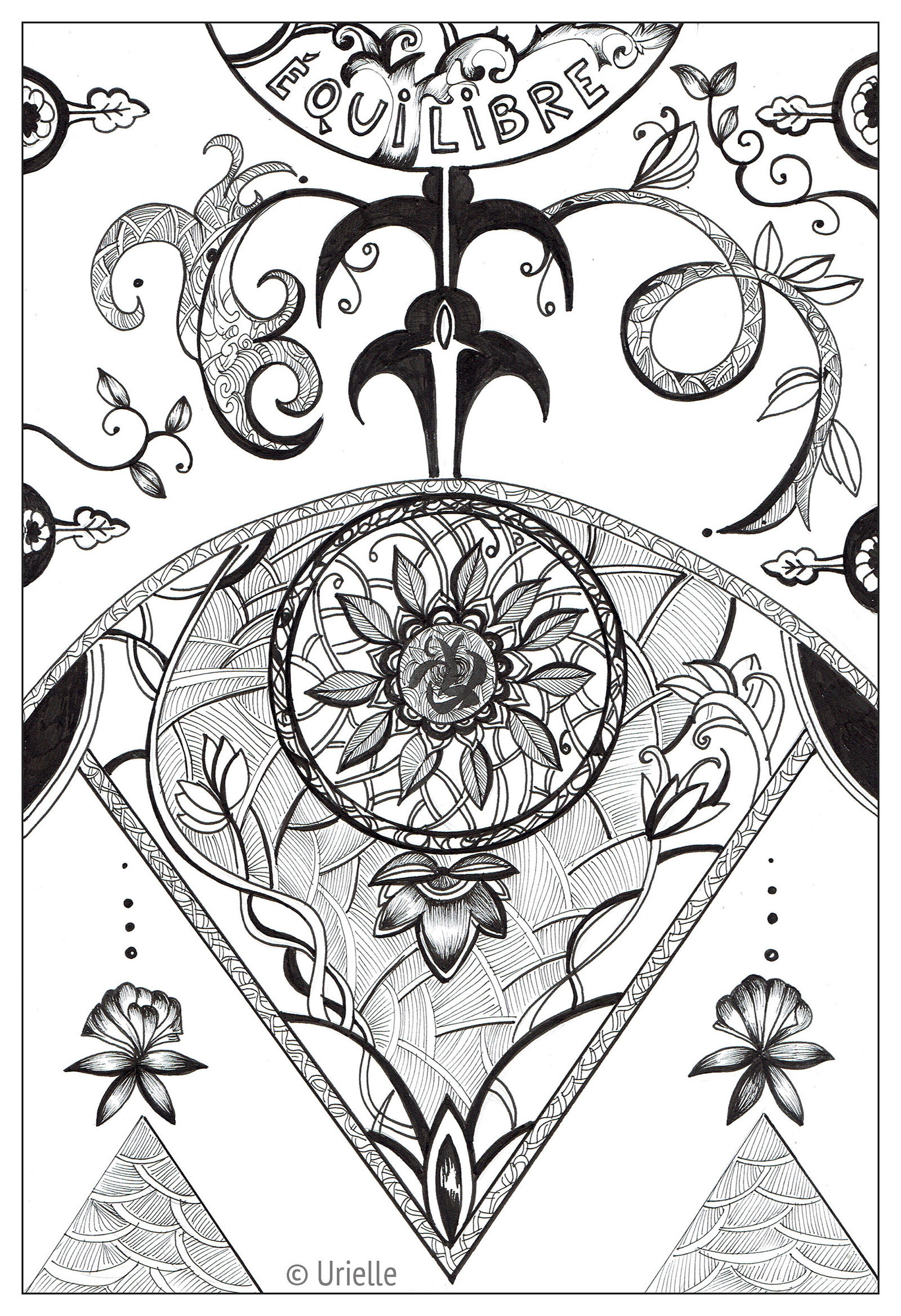 Urielle balance equilibre Anti stress Adult Coloring Pages