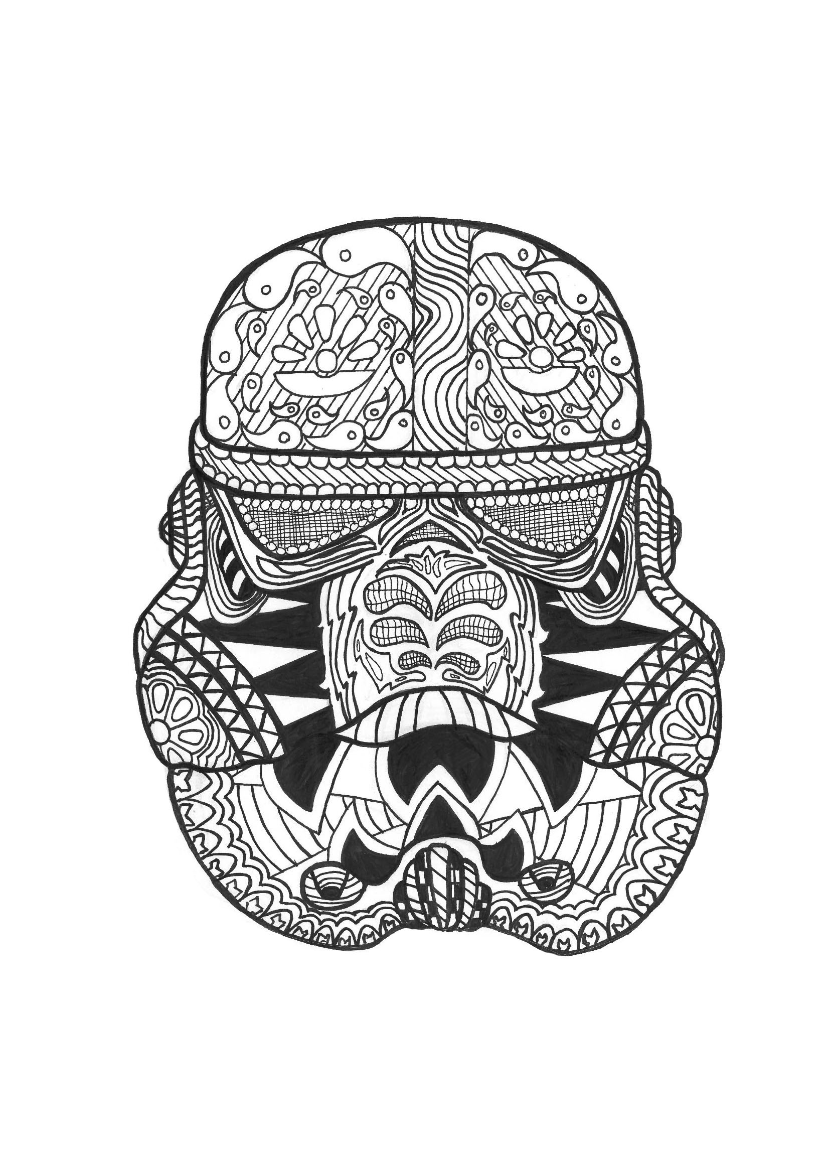 Zen stormtrooper anti stress adult coloring pages Zen coloring book for adults download