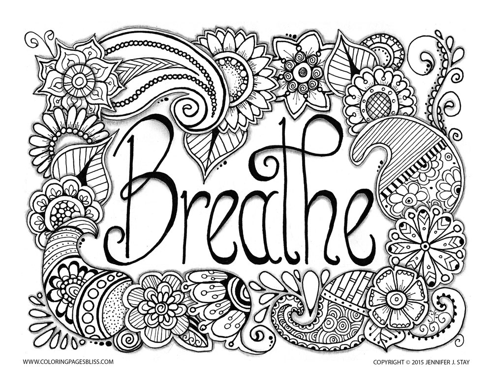'Breathe'. Like this art? Download more of Jennifer Stay's pages at coloringpagesbliss.com