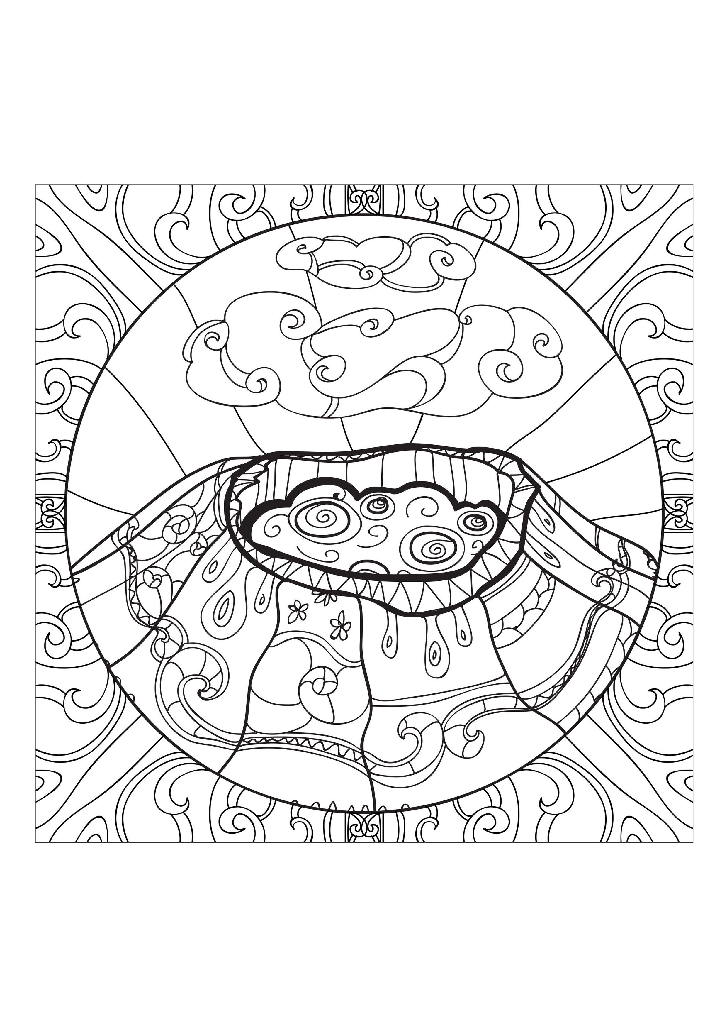 Coloring page volcano 1 a volcano in eruption soon