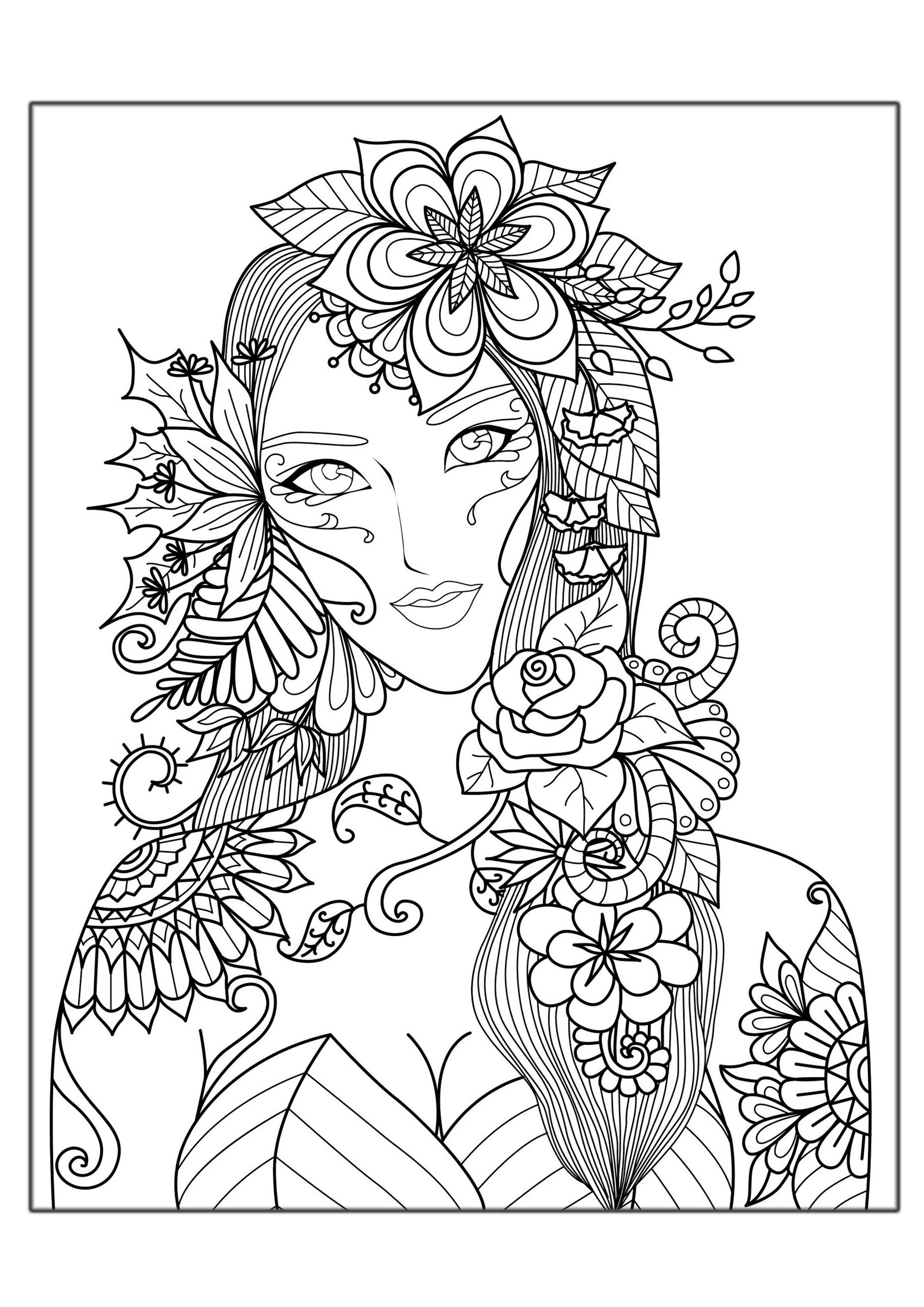 Detailed Coloring Pages For Adults Amusing Woman Flowers  Zen And Anti Stress  Coloring Pages For Adults .