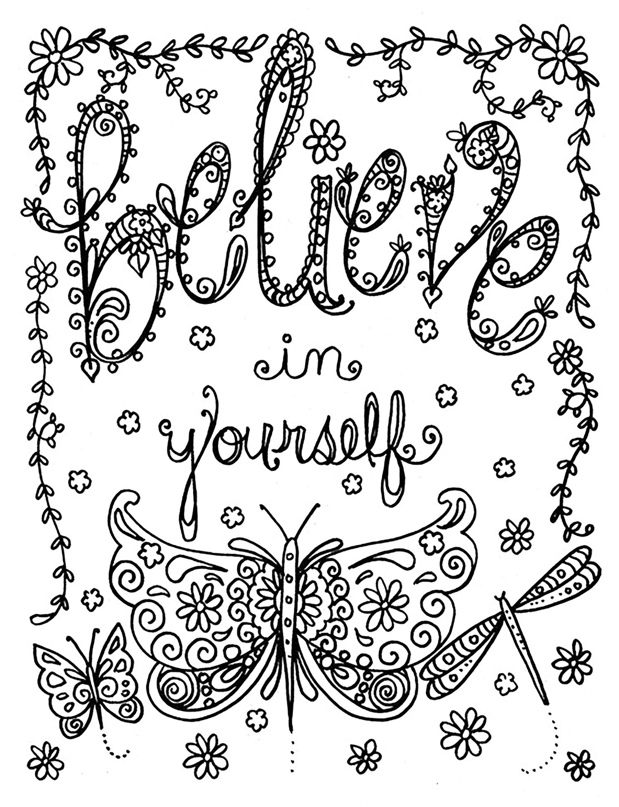 Coloring page believe in yourself believe in yourself