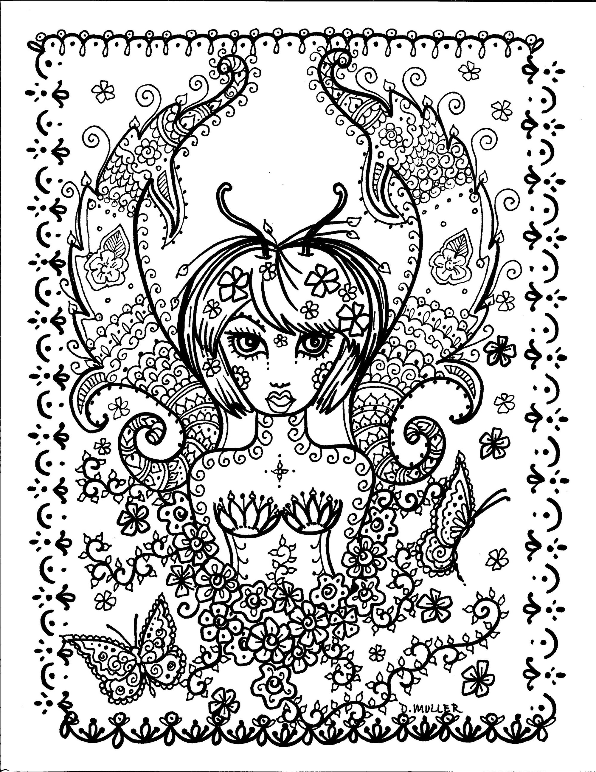 Coloring page butterfly girl by deborah muller