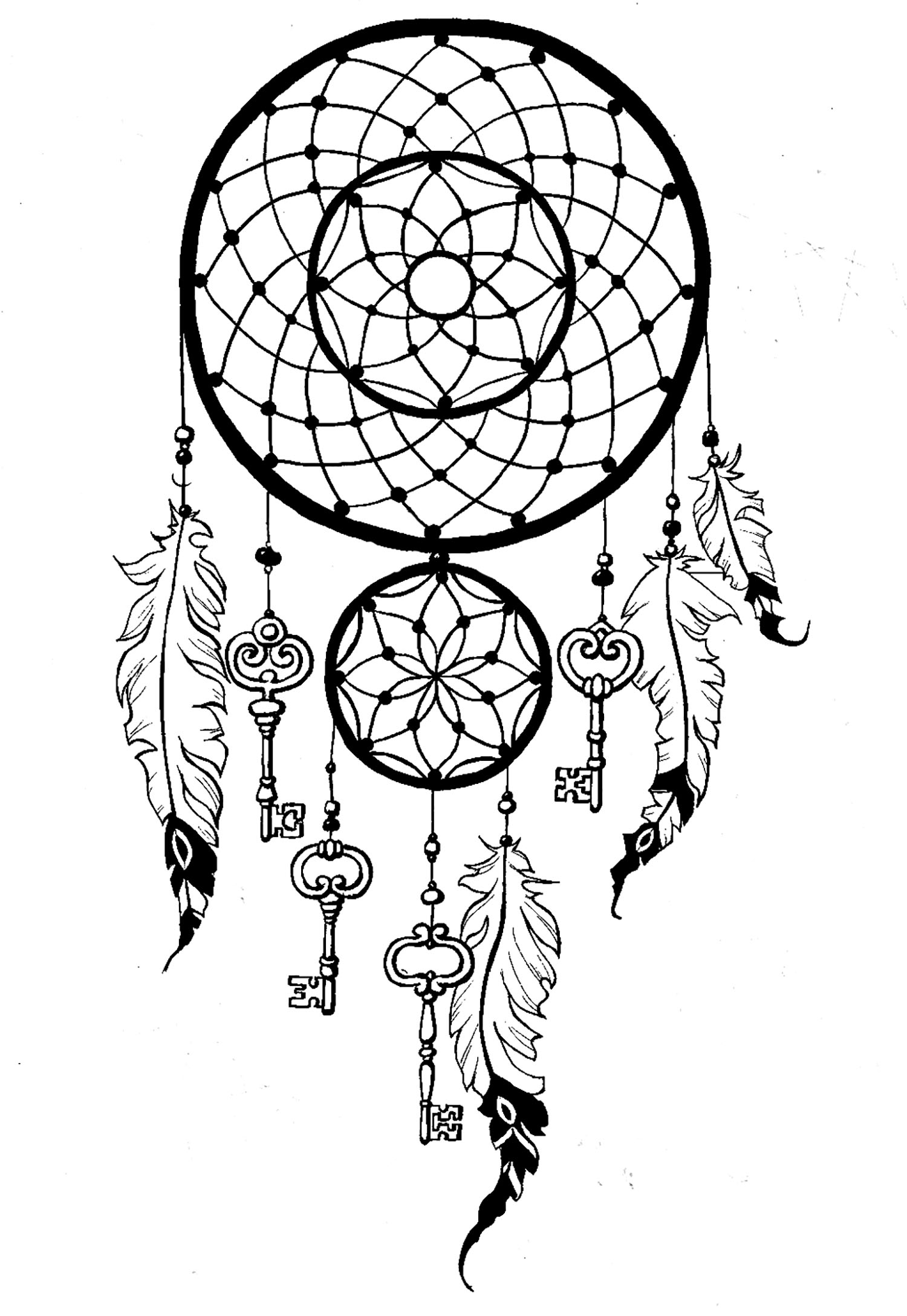 Anti stress colouring pages for adults - Coloring Page Dreamcatcher Keys