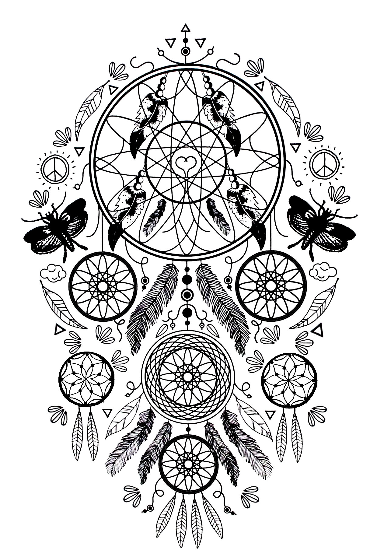 Dreamcatcher to print and color : Butterflies and feathers | From the gallery : Zen & Anti Stress