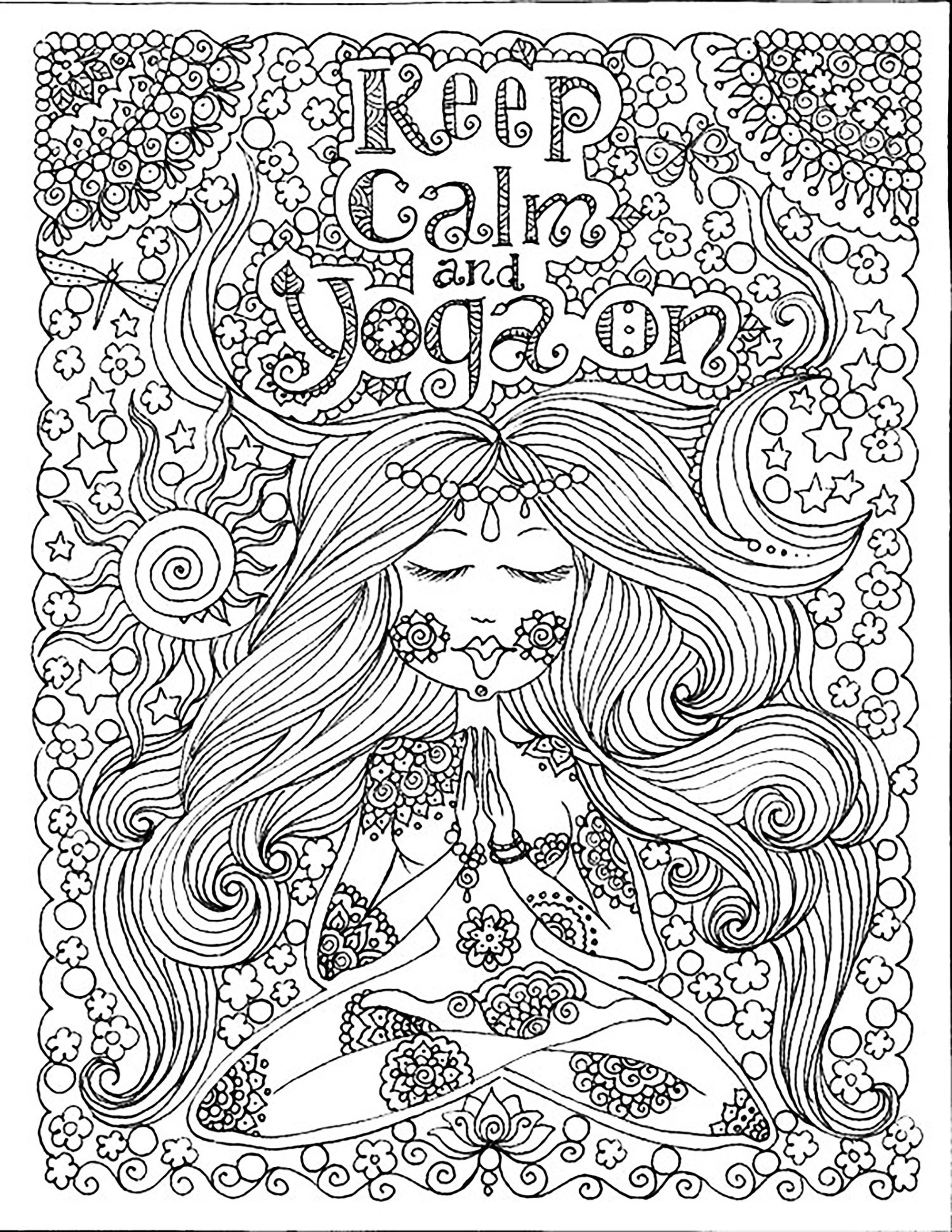 Anti stress colouring pages for adults - Keep Calm And Do Yoga From The Gallery Zen Anti Stress Artist