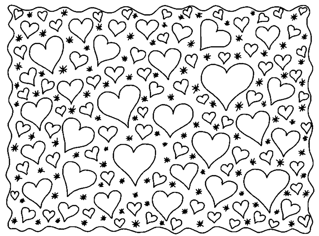 A lot of Hearts to color