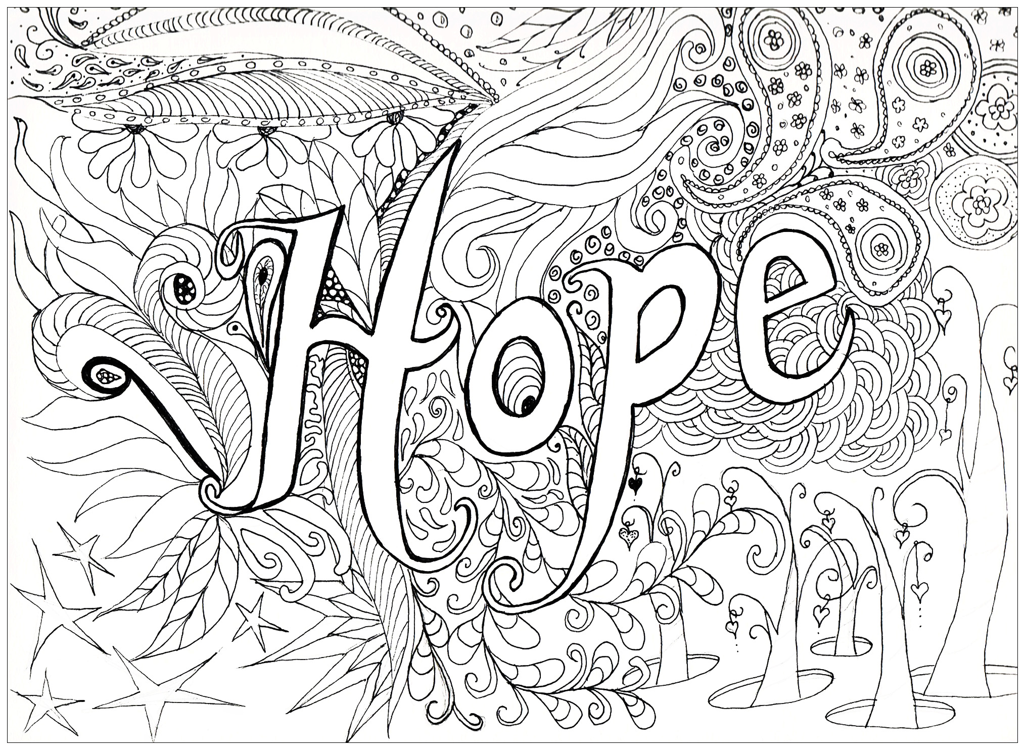 Hope Anti Stress Adult Coloring Pages - Printable-coloring-pages-adults