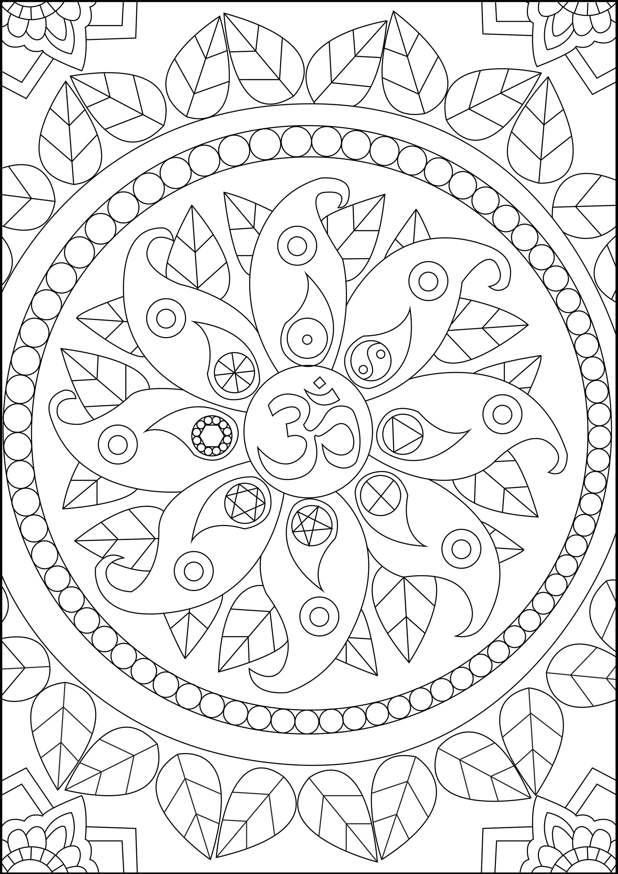 Find inner peace with this coloring page featuring various Zen symbols, including the 'Om'. 'Om' is a sacred sound and a spiritual symbol in Hinduism, that signifies the essence of the ultimate reality, consciousness or Atman. It is a syllable that is chanted either independently or before a mantra in Hinduism, Buddhism, and Jainism.