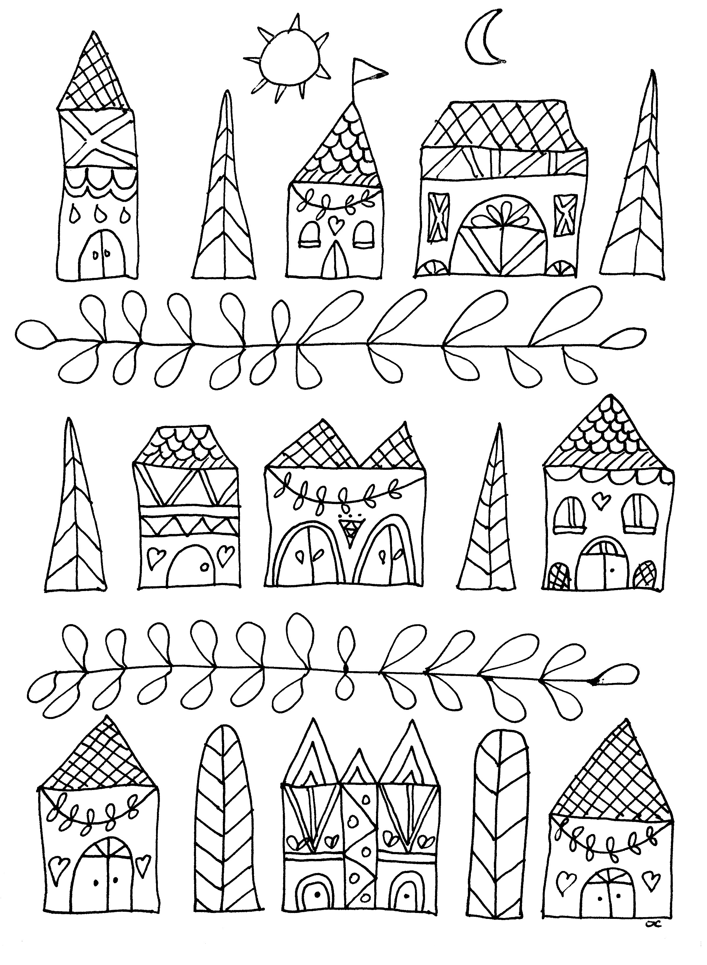 Simple drawing with cute houses