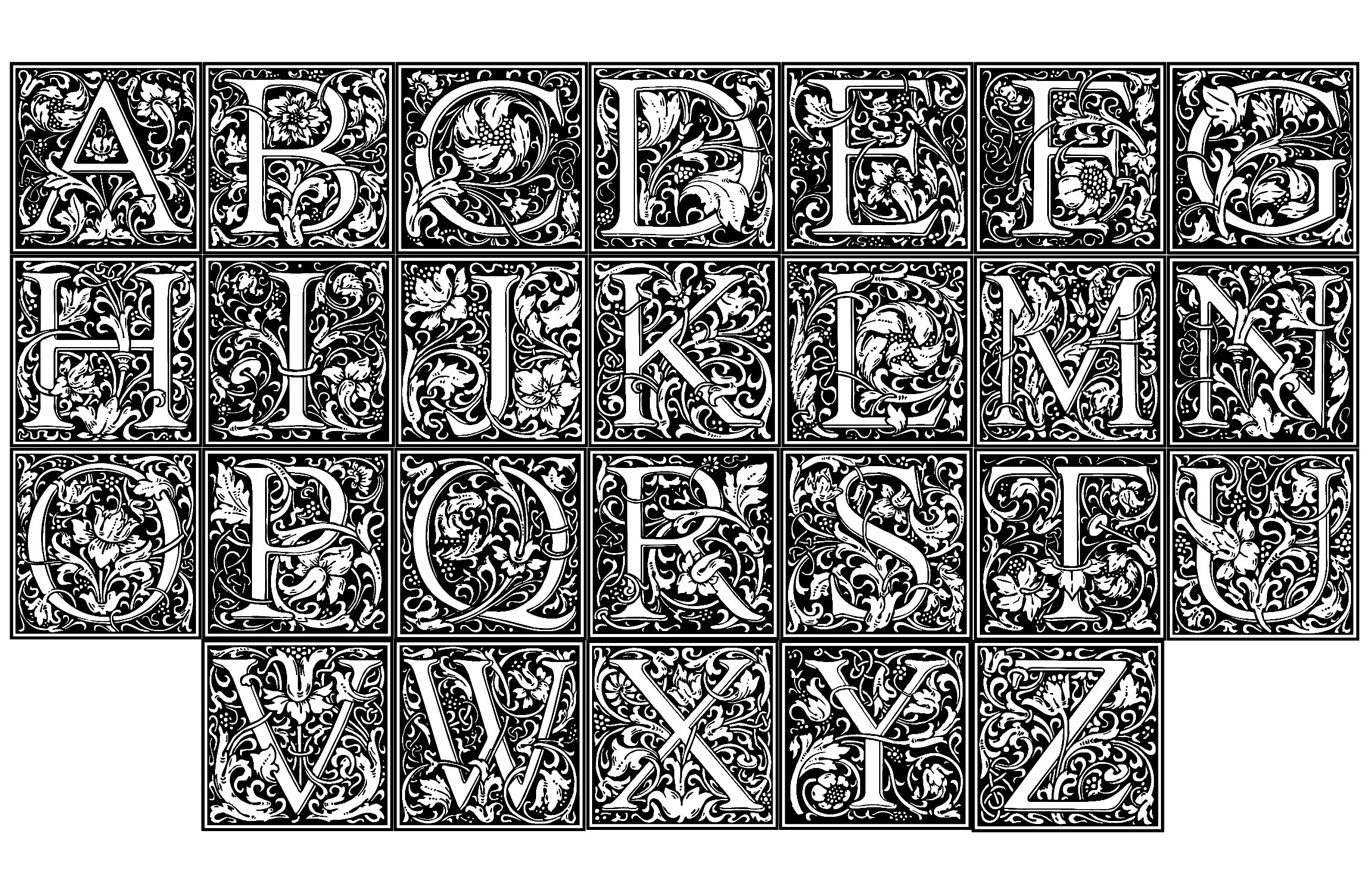 William morris alphabet Anti