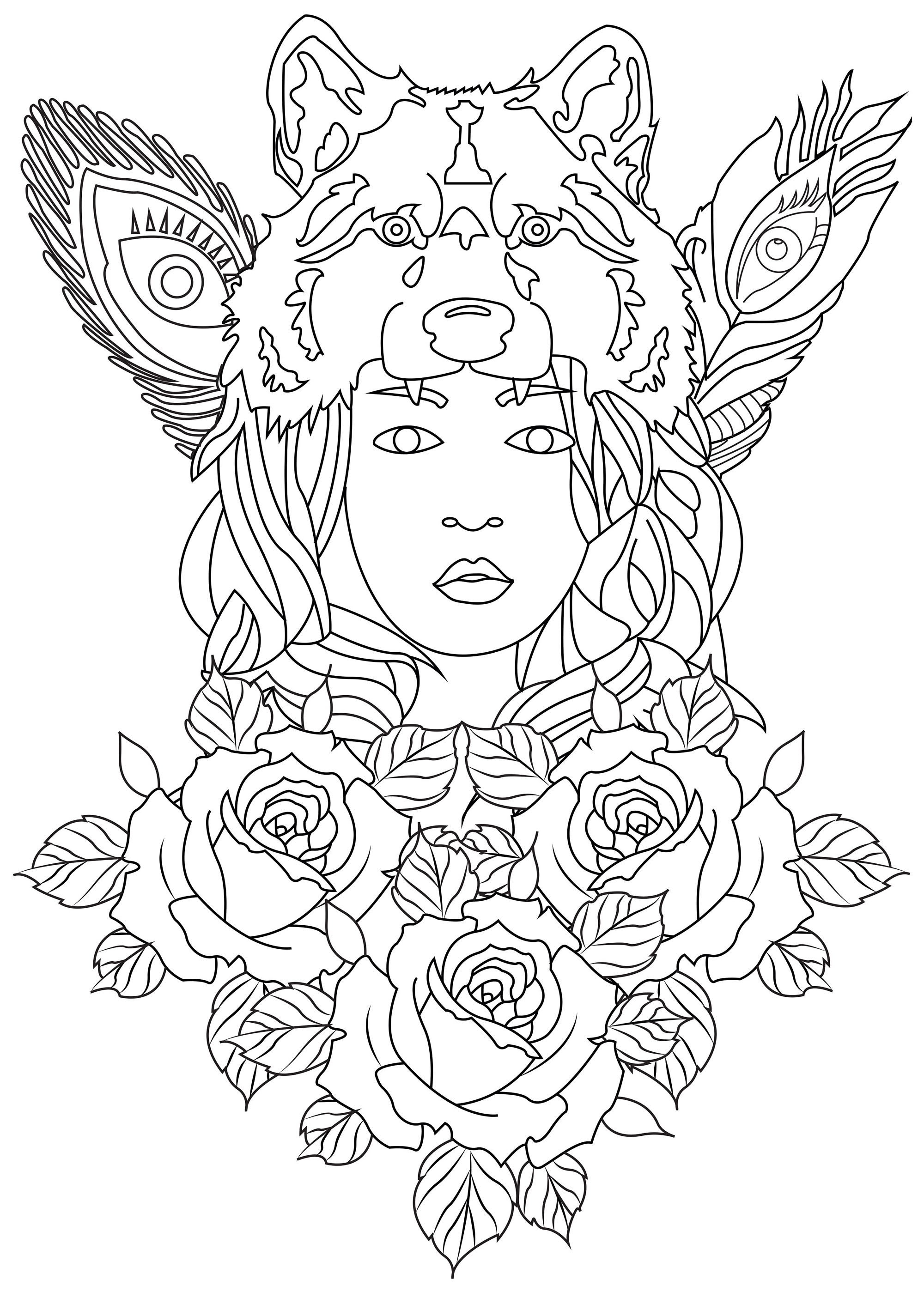 Color this wolf woman and all the roses and feathers that surround her