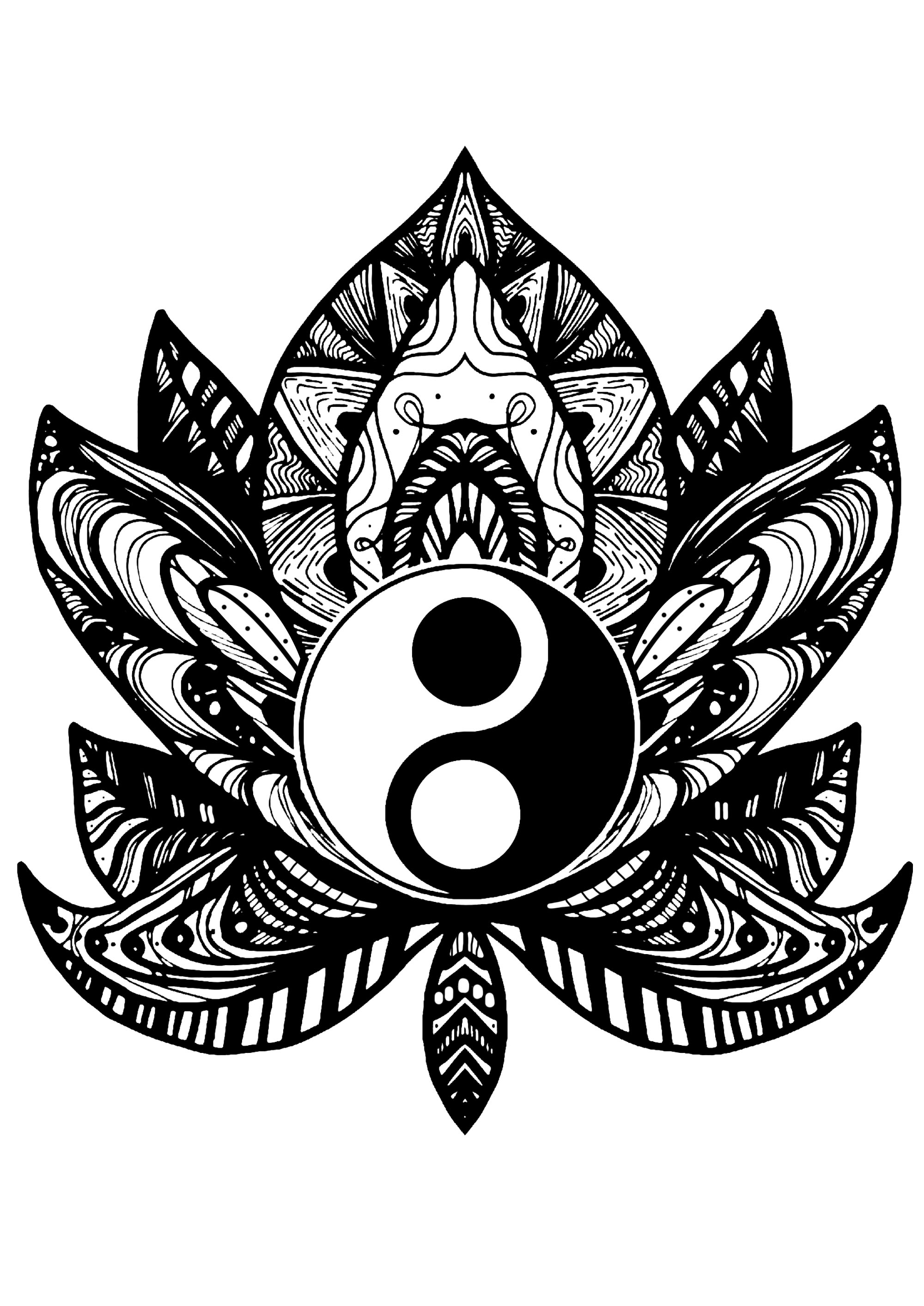 Relax yourself with this coloring page of a strange flower containing a Yin & Yang symbol in its middle