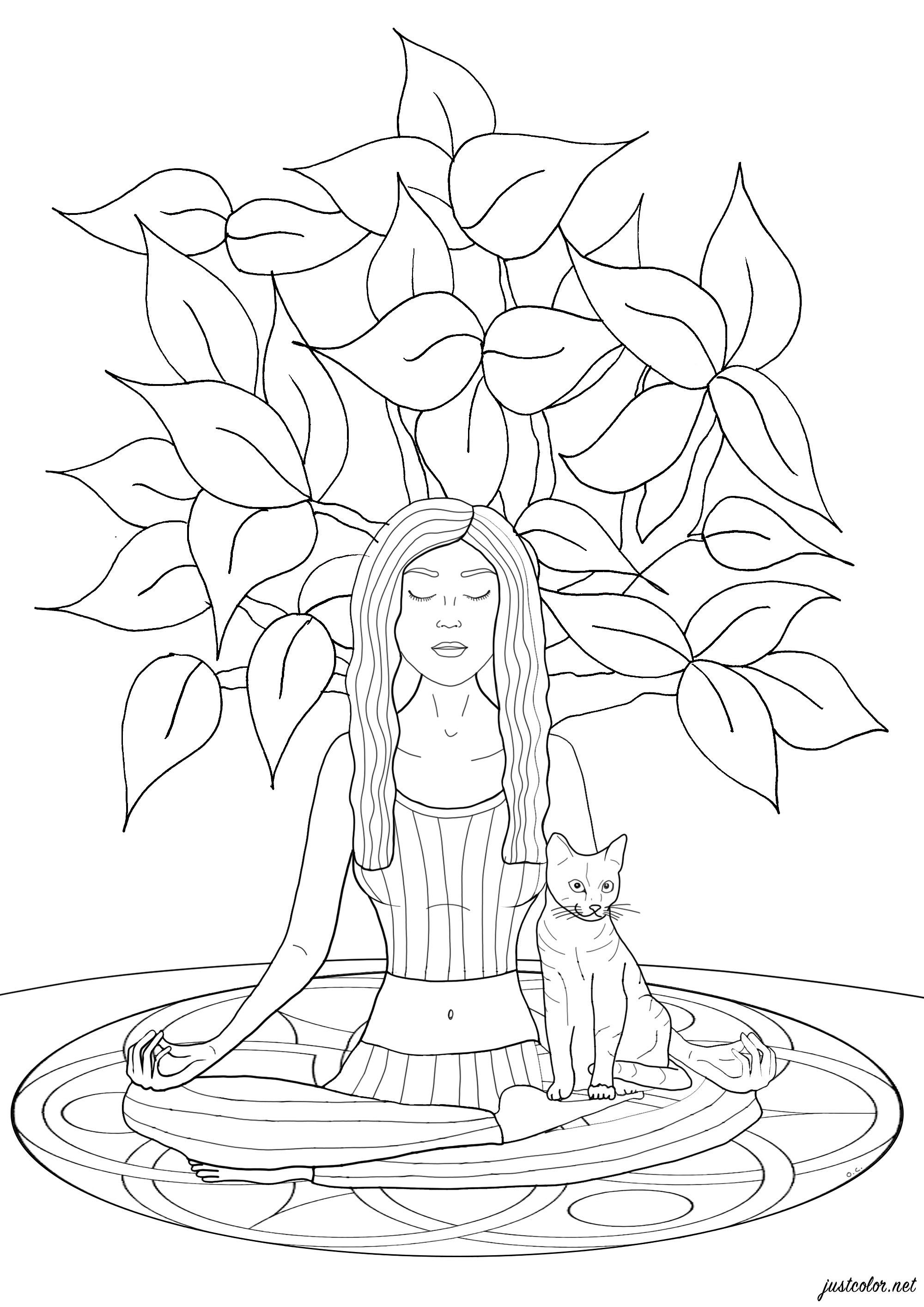 Woman practicing yoga with her cat, a tree grows behind her