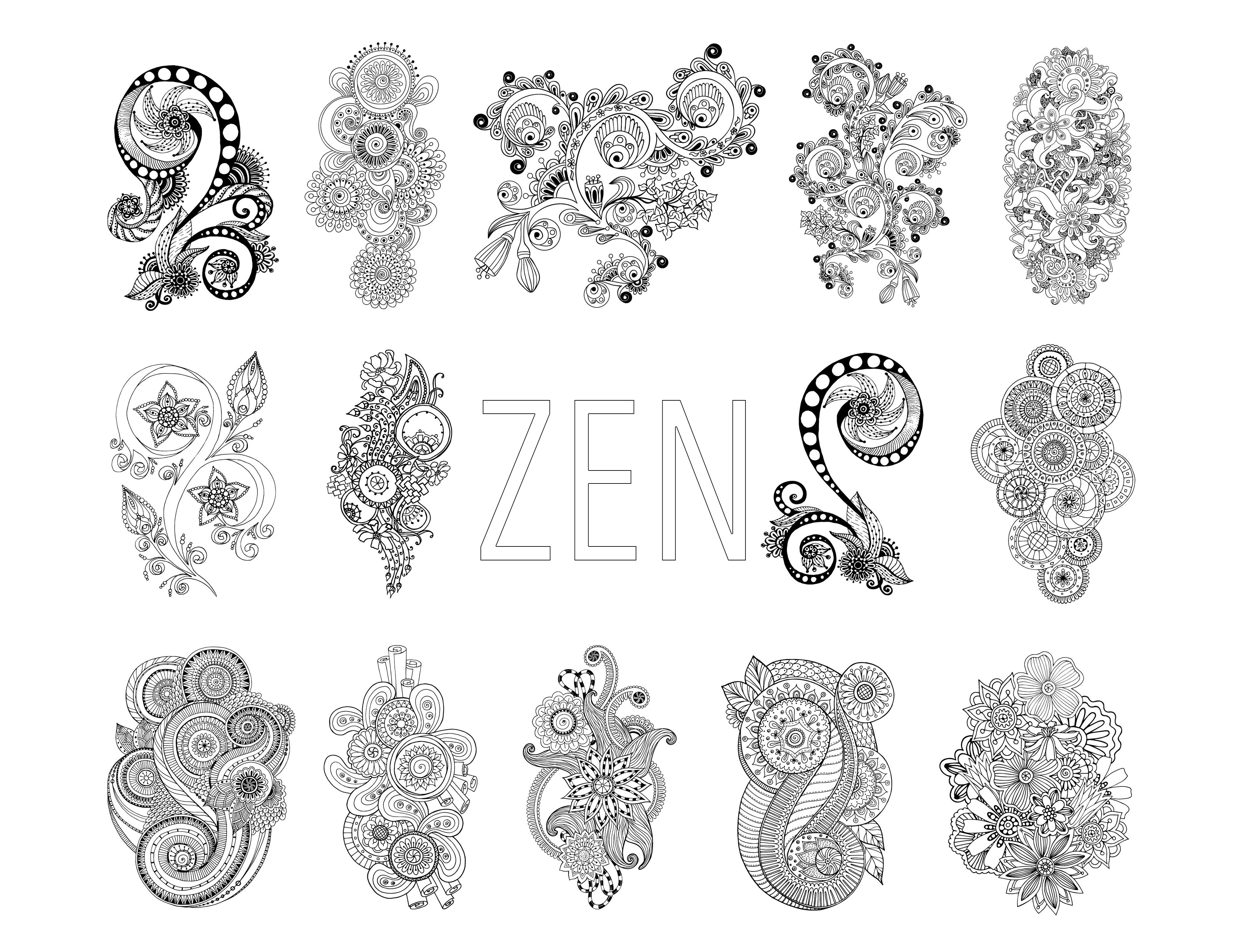 Coloring zen antistress abstract pattern inspired by flowers full set by juliasnegireva