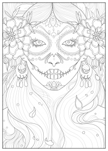 Coloring page adult days of the dead by Juline
