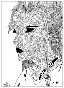 Coloriage adult drawing The mysterious woman by valentin