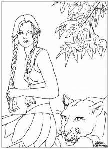 Coloring adult woman with panther