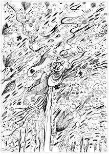 Coloring page adult flow