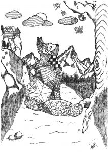 Coloring page adult fox mountain forest by allan