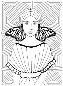 Coloring page butterflies girl