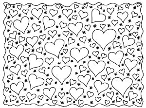 Coloring page love hearts
