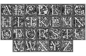 Coloring william morris alphabet