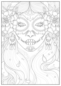 Coloring Page Adult Days Of The Dead By
