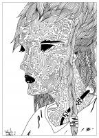 coloriage adulte dessin The mysterious woman par valentin