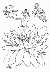 coloring adult fairy in flower free to print - Coloring Pages Fairies Flowers