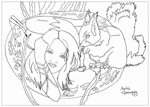 coloring-adult-woman-with-squirrel free to print