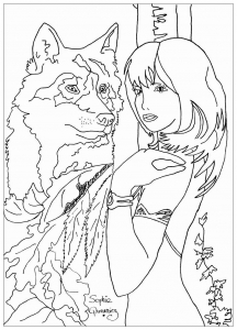 coloring adult woman with wolf