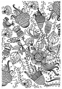 coloring-antistress-birds free to print