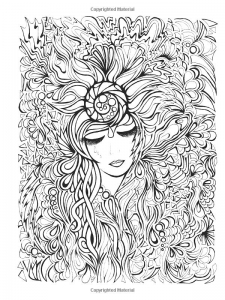coloring-flower-face-woman free to print