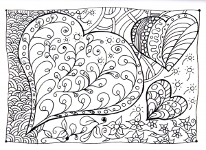 coloring-heart-zen free to print
