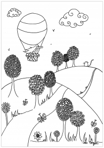 Coloring hot air balloon over the plains by Leen Margot