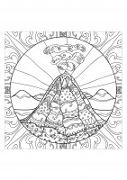 coloring page adults volcano 2