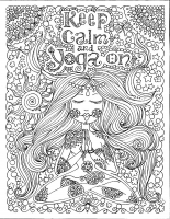 coloring page keep calm and do yoga by deborah muller